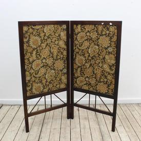 97Cm  x 99Cm Mah 2 Fold Firescreen with Flower Patt Tapestry inset