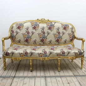Carved Gilt 3-Seater Open Arm Settee Upholstered in Beige Silk Floral Fabric