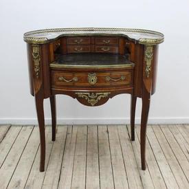 3' Mahogany & Brass Ladies Carlton House Desk Marble Top & Brass Gallery