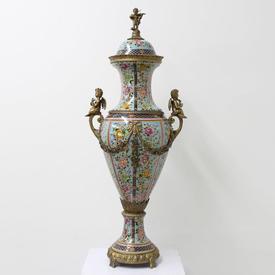 31Cm Blue Porcelain Floral  Design Urns with Brass Cherubs & Lid