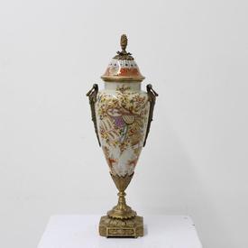 39Cm Orange & Cream Porcelain Urn with Patt Design &  Lid