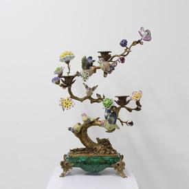 22Cm Porcelain Flower & Bird Tree Ornament 3 Light Candle Holder with Brass Feet