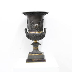 37Cm Bronze & Brass Greek Style Handled Urn on Square Marble Base